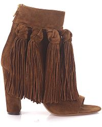 Chloé Ankle Boots Fringe Brown