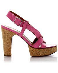 Lanvin Sandalen Sling Plateau Leather Rose - Pink