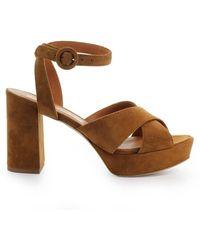 Via Roma 15 Platform Sandals 3060 - Brown