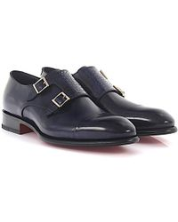Santoni - Double-monk-strap 14571 Leather Crocodile Leather Blue Goodyear Welted - Lyst