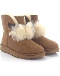 UGG Ankle Boots GITA suede lamb fur pompom