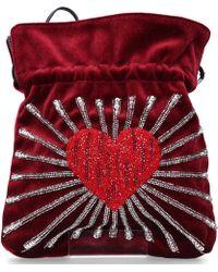 Les Petits Joueurs Women Handbag Trilly Velvet Sequins Bordeaux - Red