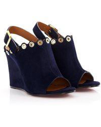 eea79bb3d10 Chloé - Wedge Sandals Ch26082 Suede Dark Blue Metal Decoration - Lyst