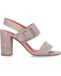 Santoni Schuhe Sandalen 58733 Veloursleder grau