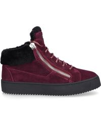 Giuseppe Zanotti Red Suede Mid Top Sneakers