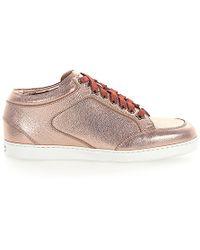 Jimmy Choo Sneaker Miami Leder Metallic Rosè - Pink