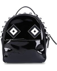 Les Petits Joueurs - Backpack Baby Mick Mask Spheres Patent Leather Pearls Logo Black - Lyst
