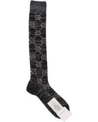 Gucci Lurex-Socken mit Monogrammmuster - Schwarz