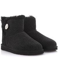 UGG - Boots Mini Bailey Button Bling Serein Suede Black Glitter Lamb Fur Jewellery - Lyst