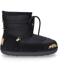 DSquared² Snowboots Snow Boots Icon Polyamide Suede Embroidery Logo Black Gold
