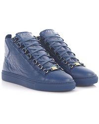 Balenciaga   Trainers High Arena Leather Blue Crinkled   Lyst