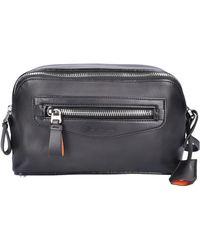 Santoni - Toiletry Bag A2009 Calfskin Logo Black - Lyst