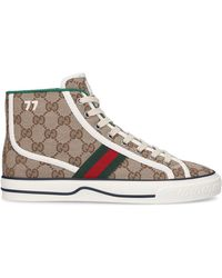 Gucci High-top Trainers Tennis 1977 Fabric Mix Canvas GG Logo Beige-combo - Natural