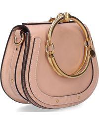 Chloé - Women Handbag Shoulder Bag Nile S Bracelet Logo Leather Beige - Lyst