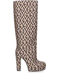 Gucci Boots Hsv00 Canvas Logo Beige - Natural