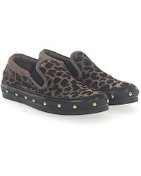 Agl Attilio Giusti Leombruni - Flat Shoes Calfskin Pony Leather Lion Print Rivets Leopard - Lyst