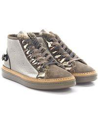 AGL ATTILIO GIUSTI LEOMBRUNI Sneakers mid top leather taupe lambskin 2M24NixS