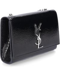 Saint Laurent - Women Handbag Monogram Leather Crinkled Logo Black - Lyst