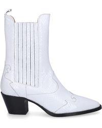 Paris Texas Cowboy-/ Biker Ankle Boots Px173s Calfskin Logo White