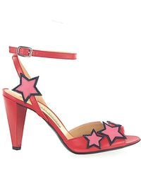 Marc Jacobs Sandals 693853 Smooth Leather Star Pattern Red Rose