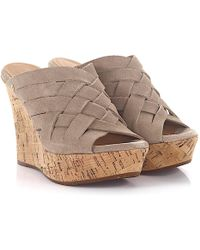 UGG - Sandals Calfskin Cork Suede Braiding Taupe - Lyst