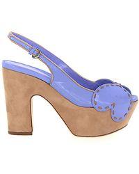 Sergio Rossi Platform Sandals Smooth Leather Stitching Purple