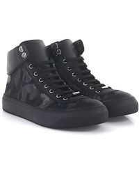 Jimmy Choo - Trainer Argyle High Top Leather Black Fabric Camouflage Black - Lyst