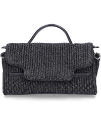 814cfe4207eb Tory Burch · Zanellato - Handbag Nina Baby Cotton Logo Black - Lyst