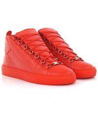 de2351cb4ed6d Balenciaga - Sneakers High Arena Leather Orange - Lyst