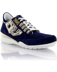 Philipp Plein | Trainers Suede Patent Leather Blue | Lyst