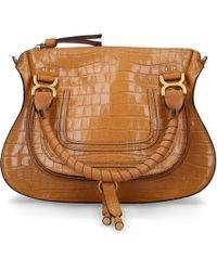 Chloé Women Handbag Marcie M Leather Embossed Logo Camel - Natural
