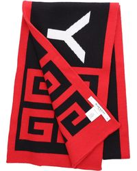 Givenchy Men Scarf 4g Knit Cotton Logo Red Black