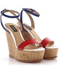 DSquared² - Wedge Sandals S17w205 Plateau Suede Blue Patent Leather Red - Lyst