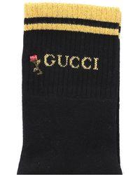 Gucci Socken mit Blumenmuster - Schwarz