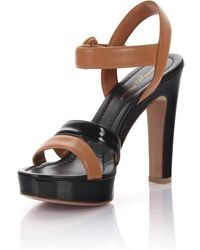 Sandals GN3583 plateau nappa leather brown patent leather black Gianvito Rossi JI6UBJJ1