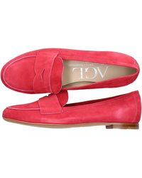 Agl Attilio Giusti Leombruni Schuhe Loafer D71903 Veloursleder - Pink