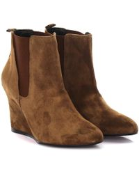 Lanvin - Wedge Boots Cspi2w Suede Beige - Lyst