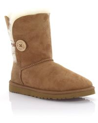 UGG - Boots Bailey Button Suede Brown - Lyst