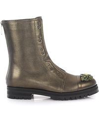 Jimmy Choo Ankle Boots Combat Calfskin Crystal Ornament Green