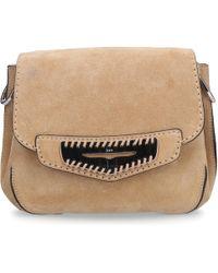 Tod's Women Handbag Srr010 Suede Logo Silver Beige - Natural