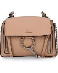 Chloé Handbag Faye Mini Leather Suede Logo Beige - Natural