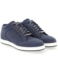 Sneaker MIAMI calfskin Contrast stitching Glitter Logo blue Jimmy Choo London vKvAZ