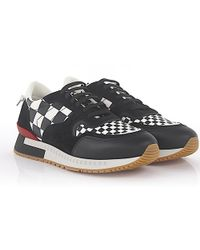 Givenchy - Sneaker Runner Active Leather Suede Black White Checkmate-print - Lyst