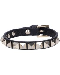 Valentino - Women Bracelet Rockstud Calfskin Studs Gold Black - Lyst