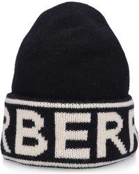 Burberry Unisex Beanie Burrbery Cashmere Logo Black Beige