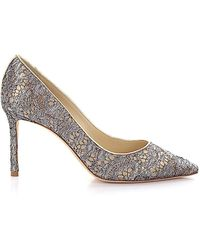 Jimmy Choo Court Shoes Romy 85 Leather Gold Lace Silver - Metallic