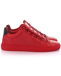 a3f28937f7c9 Balenciaga - Sneakers Arena Low Leather Red Crinkled - Lyst