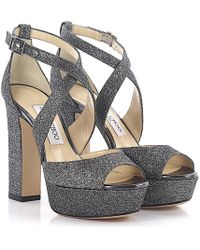 Jimmy Choo Sandals April Plateau Lamé-woven Glitter Fabric Anthracite - Metallic