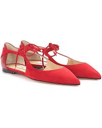 Jimmy Choo - Ballerinas Vanessa Flat Suede Leather Red - Lyst