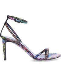 Balenciaga Strappy Sandals Calfskin Print Black-combo Multicoloured
